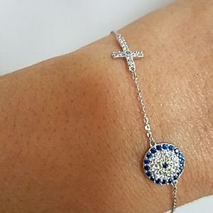 "Jewelry - 14k Solid White Gold Cross evil eye Bracelet 7"" 8"""